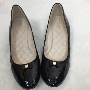 Cole Haan Grand Os Black Patent Bow Wedges 9